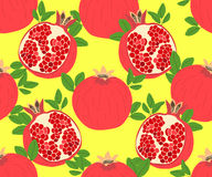 Modern stylish hand drawn summer background for textile with structure of repeating pomegranates. Stock Photo