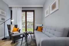 Modern stylish interior design room. Modern stylish interior design - living room with armchair Stock Image