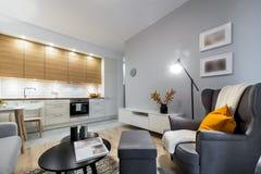 Modern stylish interior design room. Modern stylish interior design - living room and kitchen Stock Photos