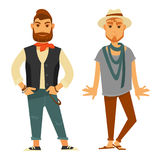 Modern stylish men in fashionable clothes isolated illustrations. Man with small shawl on neck in beige sweatshirt, black vest, ripped jeans and sneakers Stock Image