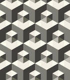 Modern stylish monochrome geometric texture with structure of repeating metallic cubes with volume effect Royalty Free Stock Image