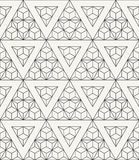 Modern stylish outlined geometric texture with structure of repeating triangles and hexagons Stock Photos