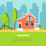 Modern stylish suburb horizontal banner Flat style. Modern stylish suburb landscape with house, trees in beautiful yard on green grass and city background vector illustration
