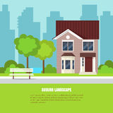 Modern stylish suburb horizontal banner Flat style. Modern stylish suburb landscape with house, trees, bench in beautiful yard on green grass and city background royalty free illustration