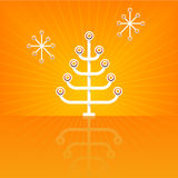 Modern Stylized Christmas Tree. Stylized, modern Christmas Tree with radiating lines and reflection. Flexible, easy-edit file royalty free illustration