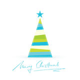 Modern stylized Christmas tree with handwritten Merry Christmas Royalty Free Stock Photography