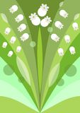 Modern stylized flower background with lily of the valley, decoration on green background, beautiful spring illustration Stock Photos