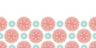 Modern stylized waterlily or dahlia flowers mandalas horizontal border design in peach and blue . Vector template. For paper, fabric, web, cards, backgrounds stock photography