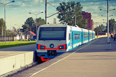 Modern suburban electric train, toned photo Royalty Free Stock Photography