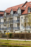 Modern suburban house. Modern apartmenthouse in the suburb of munich, bavaria, germany Royalty Free Stock Images