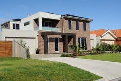 Modern suburban house. Modern family home on a new street, Melbourne, Australia Royalty Free Stock Photos