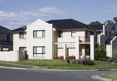 Modern Suburban House. New Modern Suburban Town House In A Sydney Suburb On A Sunny Summer Day, Australia stock image