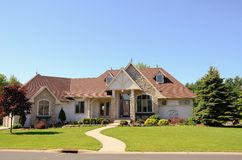 Modern Suburban House. Stucco Modified One Story Rambler House in a Suburban Neighborhood Stock Photography