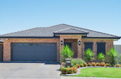Modern Suburban House. Typical facade of a modern suburban house royalty free stock image