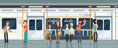 Modern subway passenger carriage interior with people vector illustration. Interior of train with passenger transportation Stock Photo