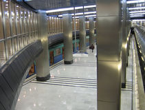 A modern subway station. A modern, two-storeyed subway station Stock Images