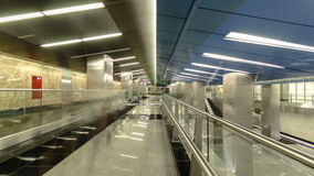 Modern subway station Delovoy center, business stock footage