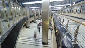 Modern subway station vistavochnaya timelapse. Modern subway station. Metro vistavochnaya timelapse, Moscow, Russia 4K stock footage