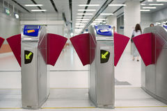 Modern subway turnstile Royalty Free Stock Image