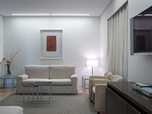Modern suite. Contemporary white hotel room suite Royalty Free Stock Images