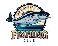 Modern Summer Fishing Logo Badge Illustration Royalty Free Stock Photography