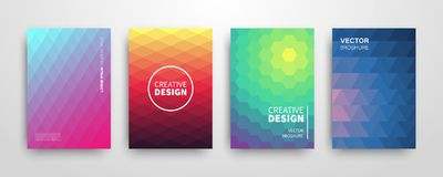 Modern summer futuristic abstract geometric covers set vector illustration