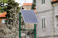 Modern sun solar power cell panel on the street Stock Images
