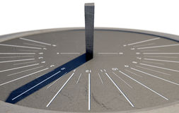 Modern Sundial. A 3D render of a sleek modern sundial clock made of stone with white markings on an isolated white studio background Stock Image
