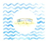 Modern sunglasses with palms reflection on the sea background. stock illustration