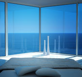 Modern sunny bedroom interior with fantastic seascape view. A 3d rendering of sunny bedroom interior with seascape view Stock Photography