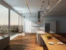 Modern sunny kitchen interior with wooden floor Royalty Free Stock Photo
