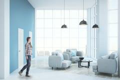 Modern sunny living room stock photo