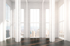 Modern sunny loft design room with city view Royalty Free Stock Photos