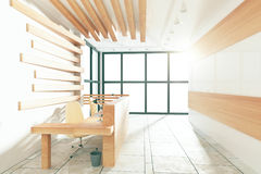 Modern sunny reception hall with windows in floor Royalty Free Stock Photography