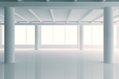 Modern sunny white style open space office with big windows and Royalty Free Stock Photo