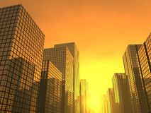 Modern sunset. 3d render of a sunset in a  modern city Royalty Free Stock Image