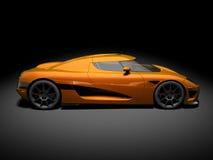 Modern Super Car 6. 3D render of Koenigsegg CCX on black background Royalty Free Stock Image
