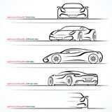 Modern super car, sports car vector silhouettes, outlines, contours Royalty Free Stock Photo