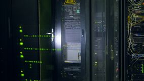 Modern super computer. Data center. Close-up real video in 4K. stock video