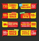Modern super sale flat banner collection Royalty Free Stock Image