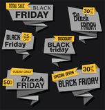 Modern super sale flat banner collectionModern origami sale stickers and tags collection black Friday. Modern origami sale stickers and tags set black Friday Royalty Free Stock Images