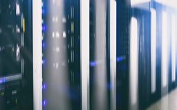 Modern supercomputers in computational data center. Multiple exposure. Server room in data center full of telecommunication equipment. internet. big data Stock Photo