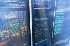 Modern supercomputers in computational data center. Multiple exposure. Server room in data center full of telecommunication equipment. internet. big data Royalty Free Stock Photos