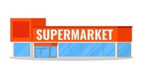 Modern supermarketbyggnadssymbol med det isolerade stället för din logo på vit bakgrund med skugga, plan tecknad filmstilvektor royaltyfri illustrationer