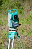 Modern surveyor equipment, theodolite or tacheometer Royalty Free Stock Images