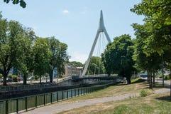 Modern suspension bridge in Mulhouse. Mulhouse - France - alsace - 15 June 2017 - modern suspension bridge in Mulhouse Royalty Free Stock Photo