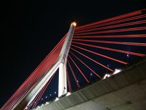 Modern Suspension Bridge by Night. This bridge crosses the Gaoping River in Southern Taiwan Stock Photo