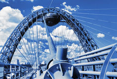 Modern suspension bridge toned in blue color in Moscow Stock Images