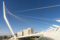 Modern suspension bridge tram Harp of David in Jerusalem Royalty Free Stock Photo