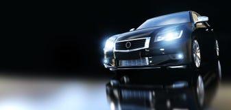 Modern svart metallisk sedanbil i strålkastare Arkivbild
